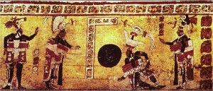 Jogo de bola mesoamericano em pintura mural, Bonampak, México. Há versões do jogo de bola em que eram usados bastões para jogar a bola. As equipes podiam ser compostas por 5 a 7 pessoas. O jogo também era praticado casualmente, como simples recreação, inclusive por mulheres e crianças.