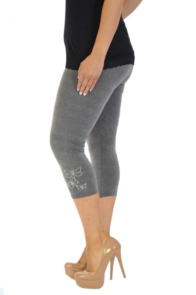 Embellished Butterfly Foil Cropped Leggings -Charcoal