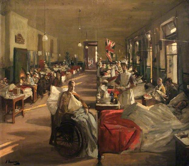 The First Wounded at The London Hospital, 1914 - John Lavery
