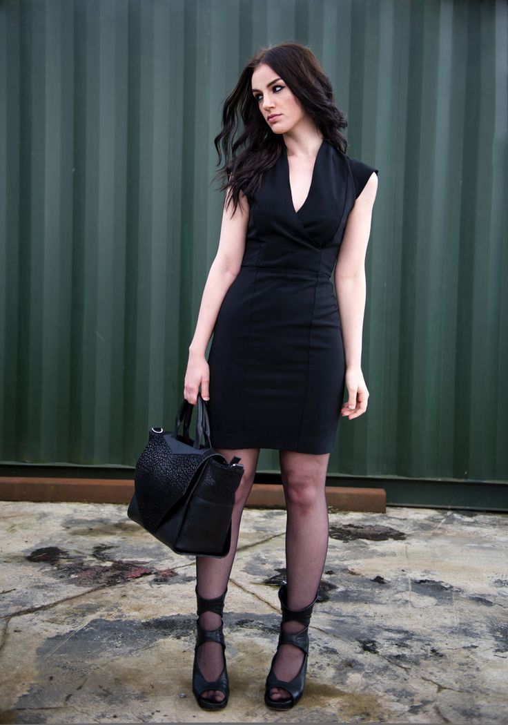 simple black outfit with amaaaazing shoes | Fashion blogger Stephanie of FAIIINT wearing French Connection Manhattan black wrap over dress, Bracher Emden classic tote bag, Rick Owens cut out wedges