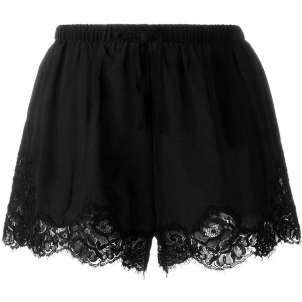 Twin-Set Lace Hem Shorts (€140) ❤ liked on Polyvore featuring shorts, bottoms, pants, black, lacy shorts and lace shorts