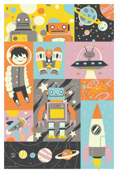 Give Us Space Art Print. I love this style of illustration. Lovely color palette too.