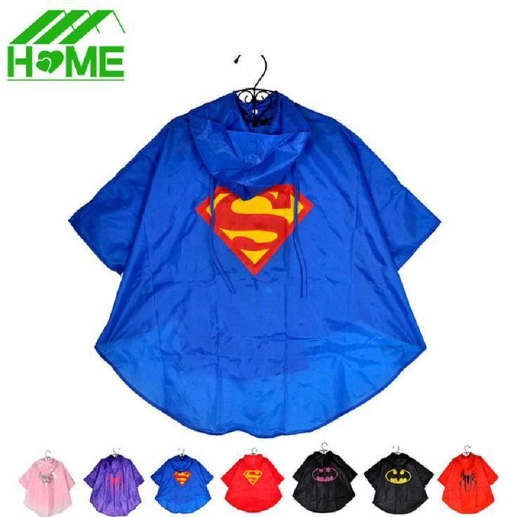 1pc Kids Rain Coat Superman Batman Spiderman Rainwear Boys Girls Waterproof Kid Raincoat Clothes Superhero for Children Rainsuit