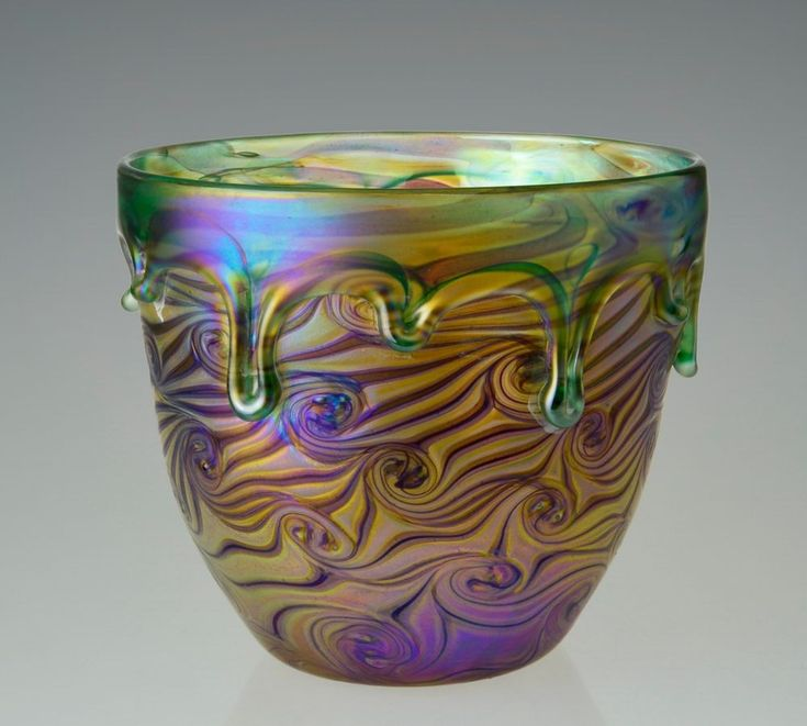 Bohemian Hand Blown Glass Bowl Art Nouveau Iridescent Art Glass Loetz Style Vase | Pottery & Glass, Glass, Art Glass | eBay!