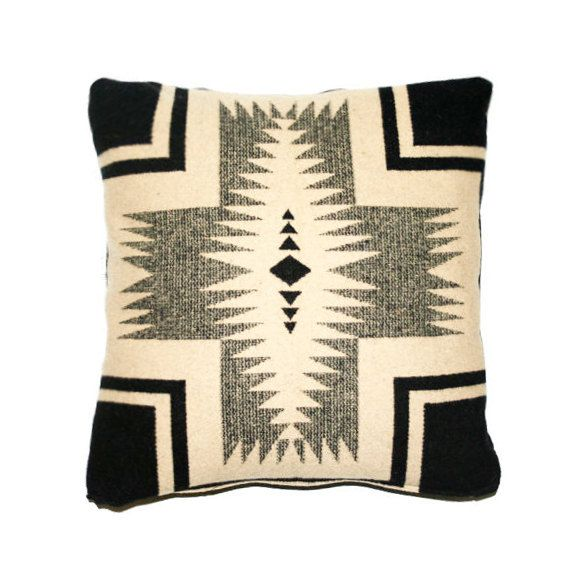 Pillow cover made with genuine Pendleton fabric, Wool Throw Pillow, Cushion Cover, Navajo, Southwestern Design, Gray Red Black, 16 x 16 on Etsy, Sold