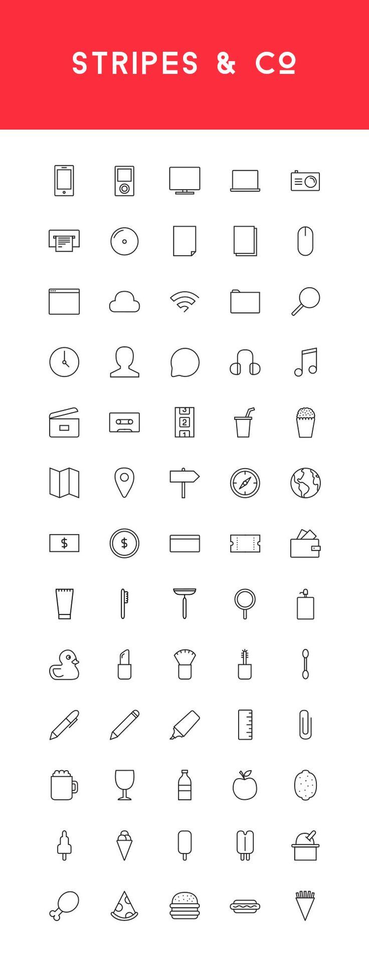 Freebie: Stripes & Co - A Line-Styled Icon Set (65 Icons) - Speckyboy Design Magazine