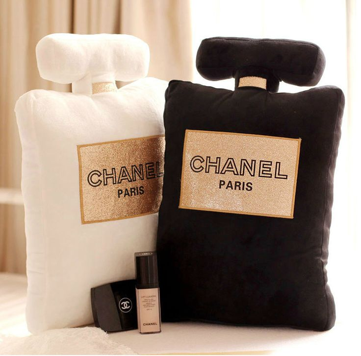 Cute, soft pillow in the shape of Chanel Perfume bottle  Comes in 3 colors - White - Black - Pink  Pre-order item. Please allow 2-4 weeks for delivery  Size: 50cm x 30cm x 5cm (19.69in x 11.81in x 1.97in)