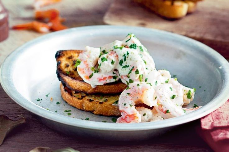 Prawns on toast with lemon myrtle mayonnaise
