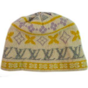 Auth Louis Vuitton LV 100% Cashmere one Size Beanie Bonnet Pull On Hat
