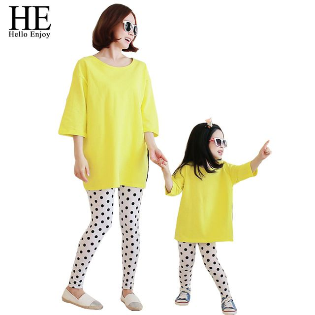 He hello enjoy a família roupas combinando 2017 outono roupas casuais mãe e filha (T-shirt + dot calças soltas) clothing set