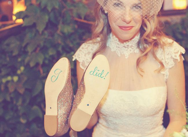 """Comfy shoes for the end of the night that say """"I did."""" Too cute."""