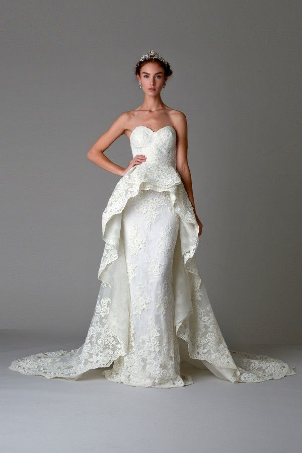 25 cute peplum wedding dress ideas on pinterest peplum style marchesa wedding dress with lace all over junglespirit Choice Image