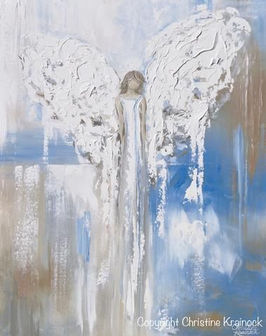 """Abstract Angel Painting """"Carried by Grace"""" ORIGINAL art, abstract painting, textured guardian angel painting depicting stunning angel in vintage blue & white watching over & guiding. This hand-painted, contemporary, figurative piece possesses a comforting sense of peace and calm. Modern, contemporary fine art, palette knife paintings, Home decor wall art, interior design, coastal decor, Contemporary Artist, Christine Krainock"""