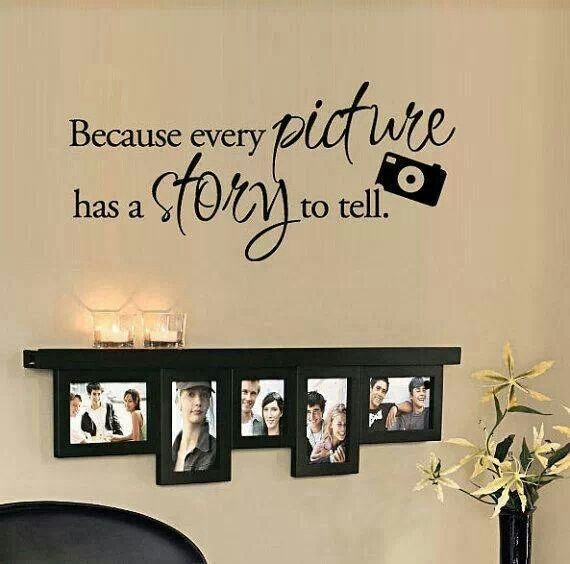 Because every picture has a story to tell. Vinyl Wall Quote Decal