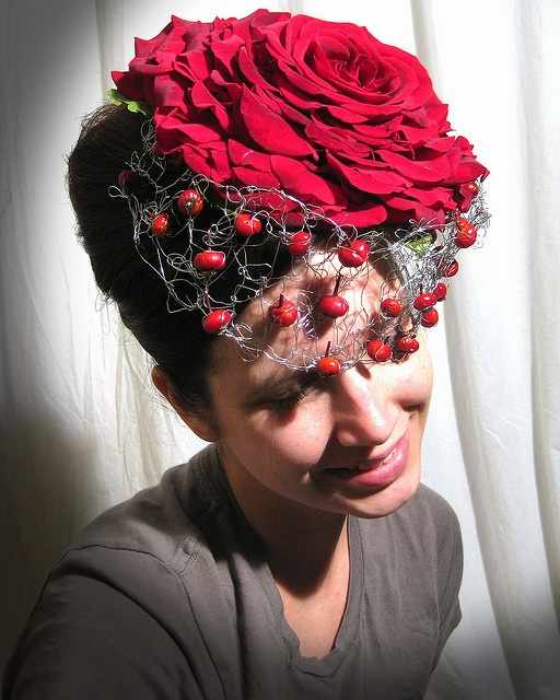 composite rose hat... with rosehips!