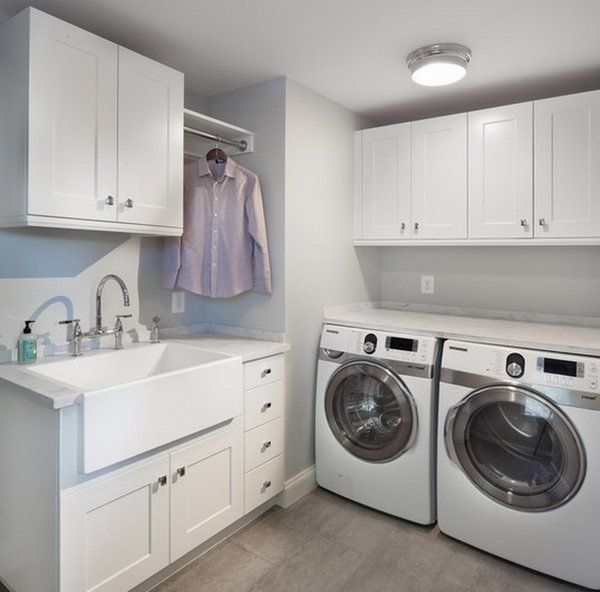 laundry room sink ideas farmhouse sink white cabinets drying rack storage drawers