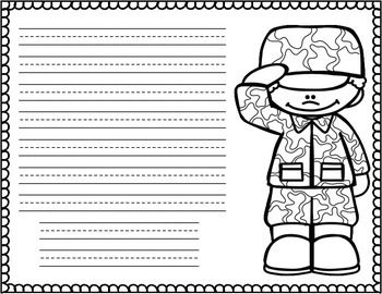 You'll find several different templates for writing a letter to a soldier, sailor, or other military person for veteran's day.  Included are male and female clipart with blank paper, handwriting lined papers, papers with the letter already written, and coloring pages.