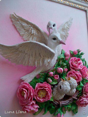 Картина панно рисунок Лепка Любовь и голуби или Мир вашему дому Тесто соленое фото 3