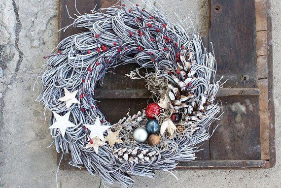 Xmas wreath Minimalistic style Birch wreath Door Hanger by mamwene
