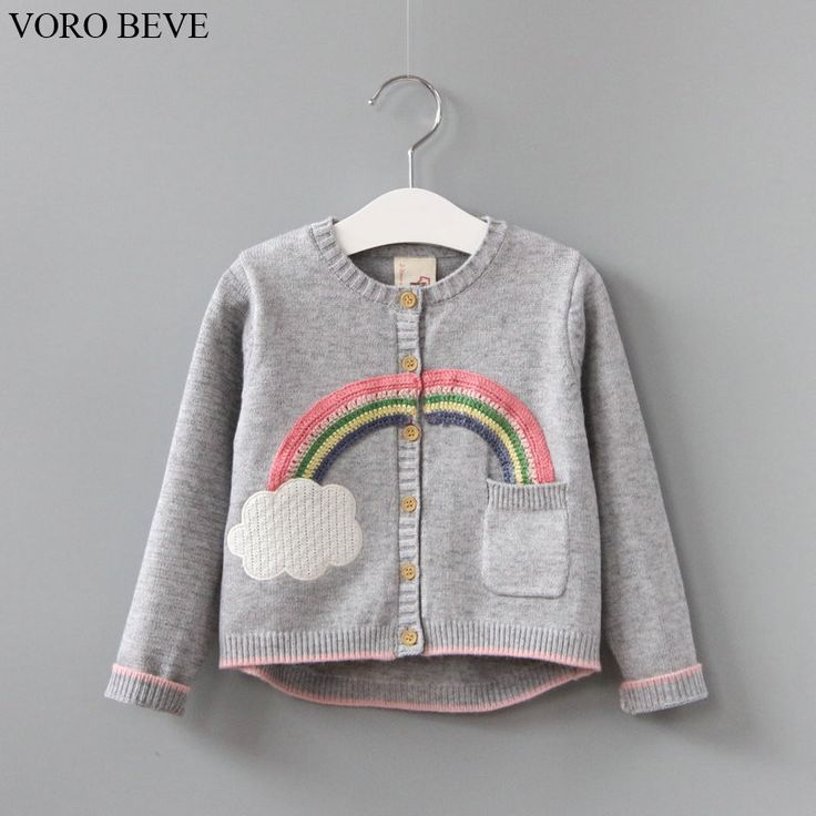 ==> [Free Shipping] Buy Best VORO BEVE 2017 New Spring Autumn Sweet Long Sleeve Girls Sweaters Coat rainbow Girl Cardigan Kids clothing Online with LOWEST Price | 32814914244
