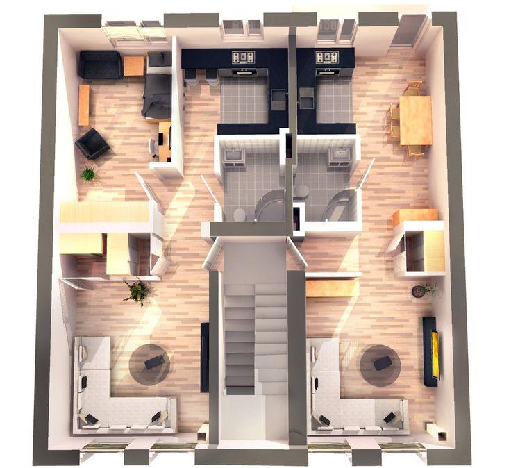 Wizualizacja podziału mieszkań przy ul. Józefczaka 18 w Bytomiu