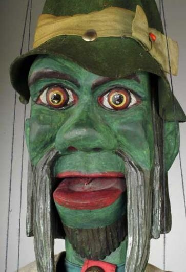 This marionette of Waterman (Vodnik) was created by carver Jiri Soucek from Mlada Vozice. The marionette was created by design of Josef Lada (well known painter and illustrator) in 1925. Please make a note that the Waterman can open his mouth. This type of open-able mouth is often called a clapper.