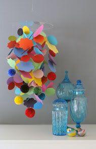 Colorful paper mobiles (bonus: No painful tinny music!)