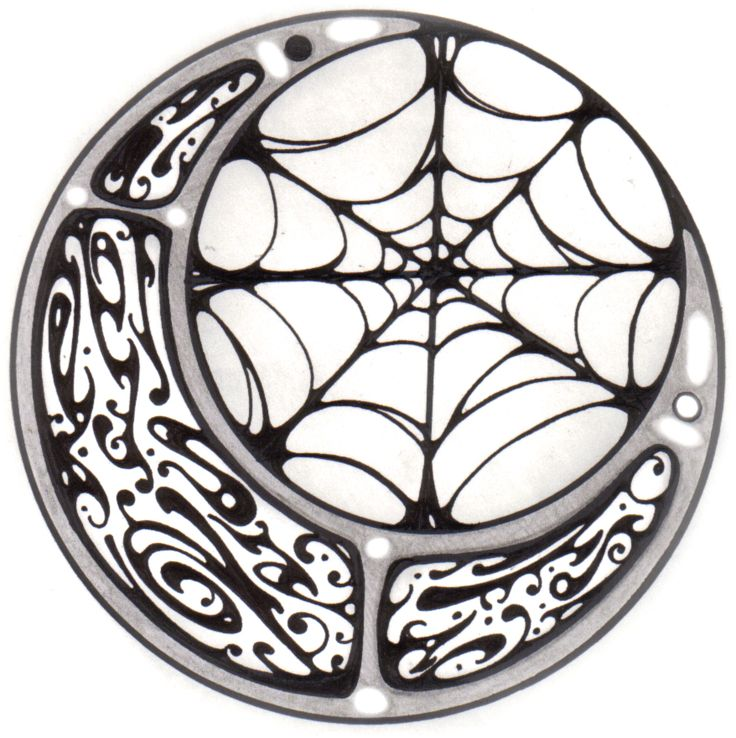 cresent moon and Spider Web Tattoo | Zentastic Tattoo: Tattoo Images by Brittany Partee