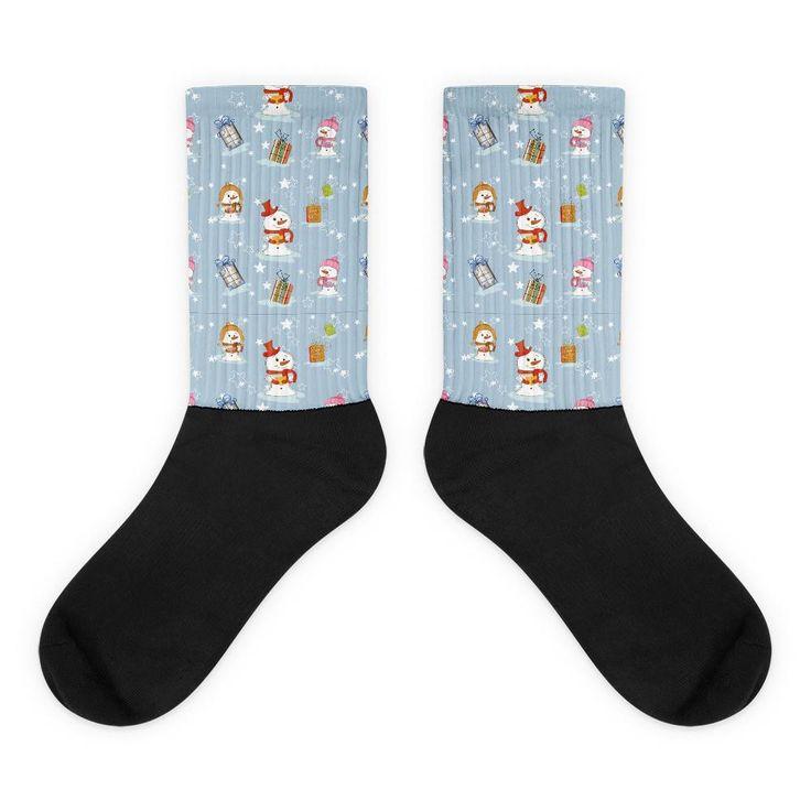 Snowmen and Presents Pattern Black Foot Socks