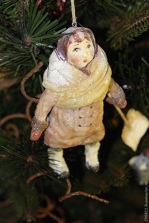 Купить Валечка.Елочная игрушка из ваты. - коричневый, Новый Год, миниатюра, человечки, подарок