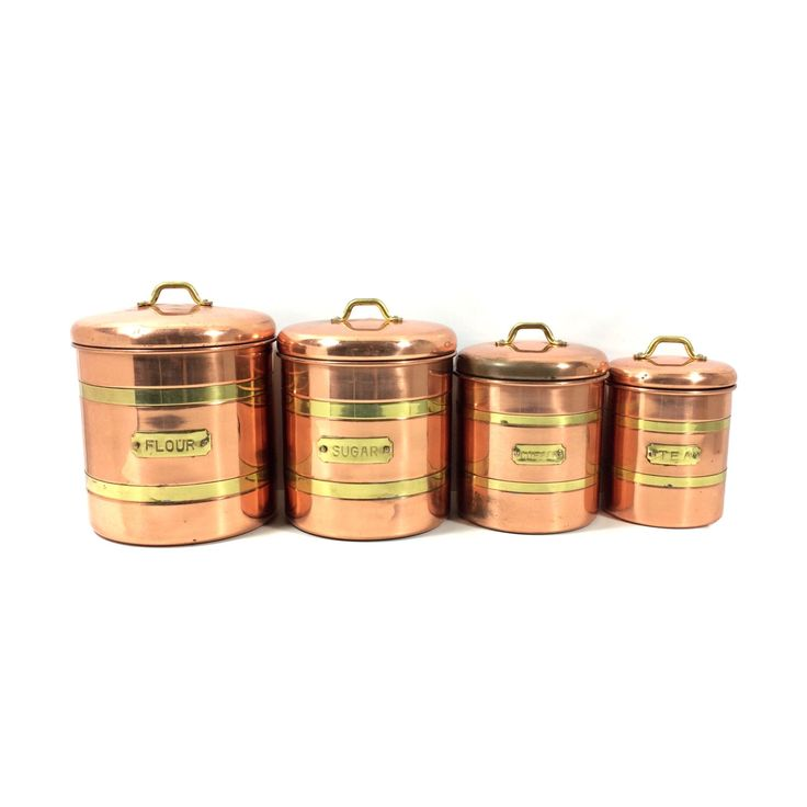 Set of 4 vintage copper canisters with brass accents coffee tea sugar flour rustic metal - Modern tea and coffee canisters ...