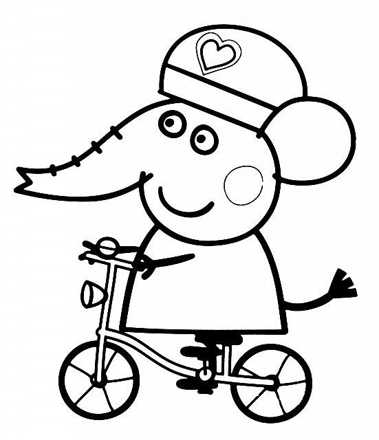 Emily elefante amica di Peppa Pig disegno da colorare gratis