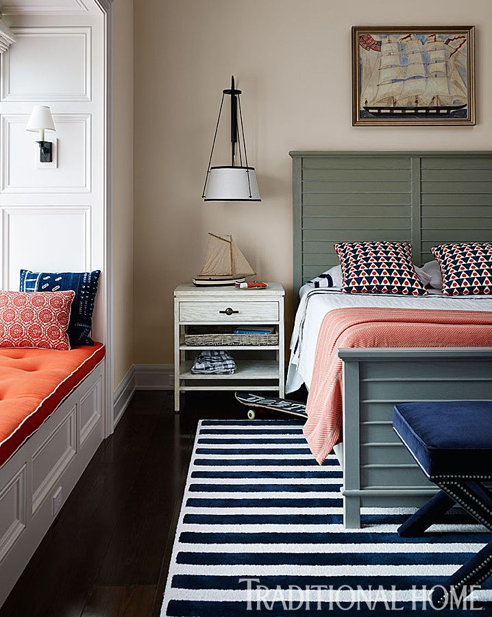 Nautical Bedroom With Coral Color Pop