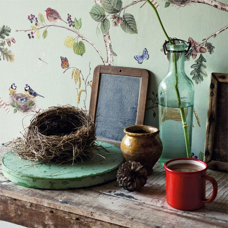 Sanderson Tapet Woodland Chorus blue tapet fåglar engelsk tapet Sanderson vackra…