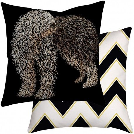 Cute Sheepdog cushion with black and white chevron reverse side - the perfect stylish nursery accessory, Cushions available in a range of sizes and fabrics.