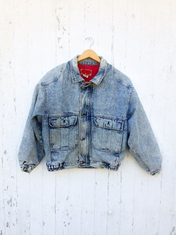 80s LEVI'S Bomber Jacket Acid Wash Denim Jean Jacket Sz M on Etsy, $45.00