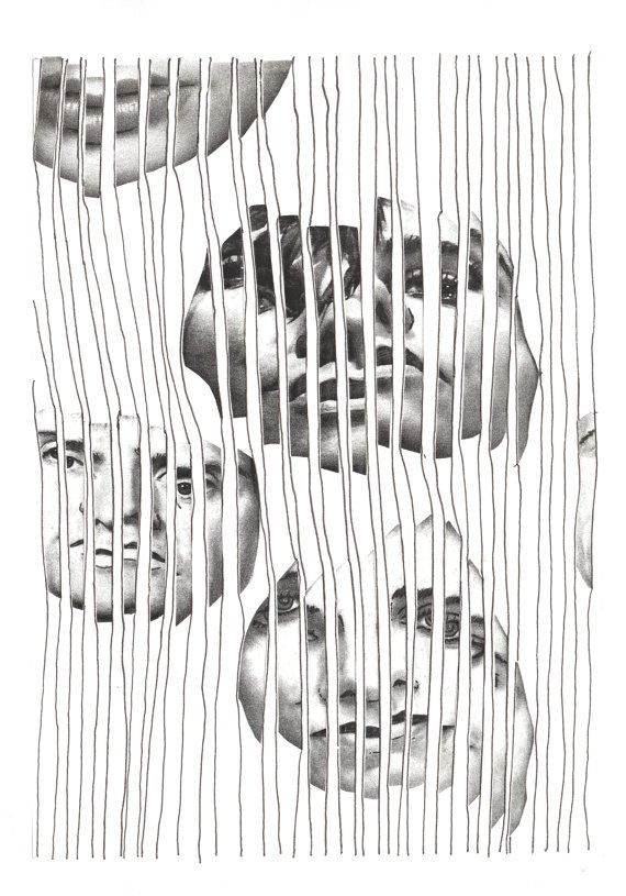 """""""Captured Too"""". Black and White Art Print by Art is Autobiographical. We form our own cages and bend the bars to fit our view of what we can and can't achieve. We can be our own worst enemies. We capture ourselves! £15.00"""