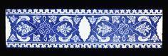 Flise af frittegods bemalet med blåt under en klar glasur Tyrkiet, Iznik; omkring 1505