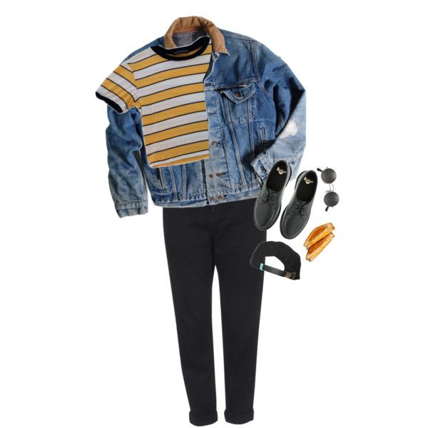 yellow-blue by angeell on Polyvore featuring mode, Carhartt, Topshop, Dr. Martens and King Apparel