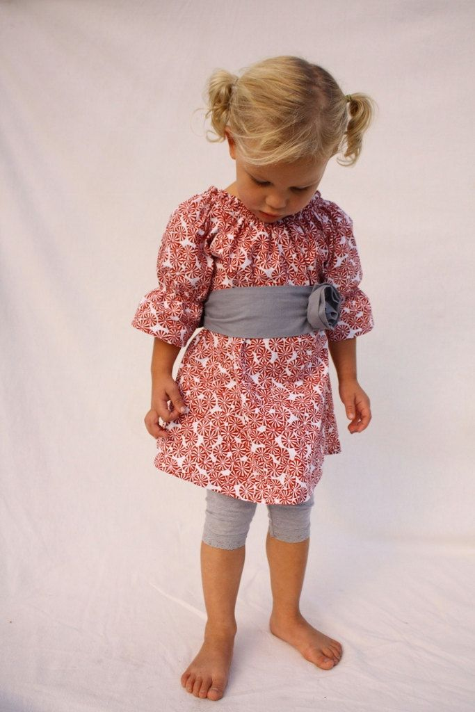 Baby Girl Christmas dress, red Christmas dress, Peppermint candy dress. $47.00, via Etsy.