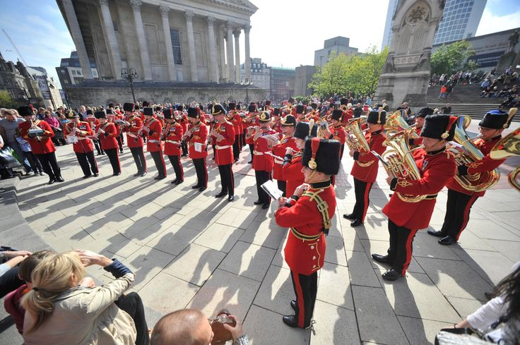 """Published on Sep 21, 2013.British Army musicians entertained unsuspecting passersby with a flashmob performance in Birmingham's Chamberlain Square.The 60 professionals,from both Regular and Reserve bands,performed the big band classic""""Sing, Sing, Sing"""", by Louis Prima."""