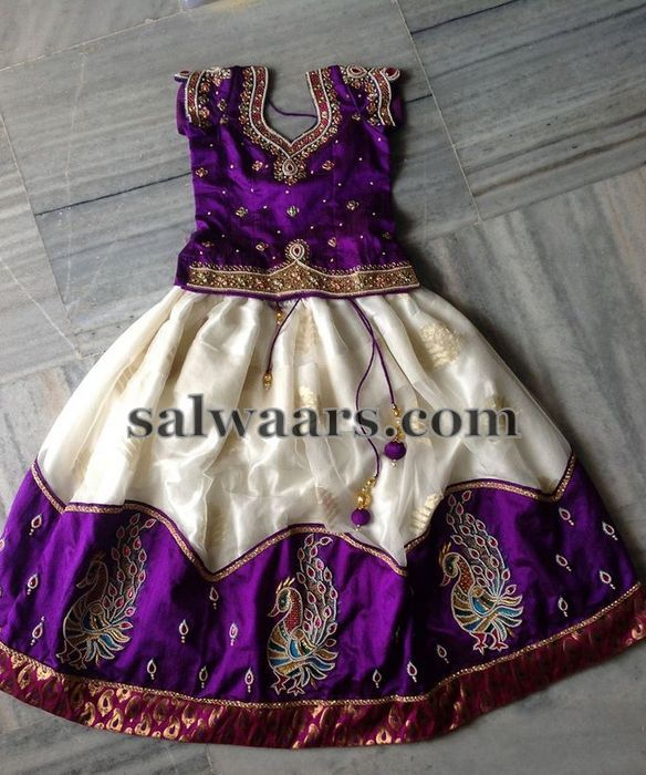 Purple White Lehenga for Kids - Indian Dresses