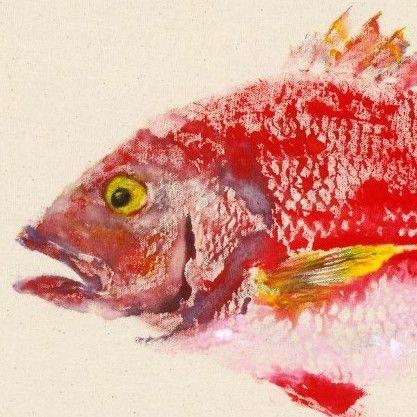 Red Snapper - Gyotaku Fish Rubbing - Limited Edition Print (18.75 x 11). $55.00, via Etsy.