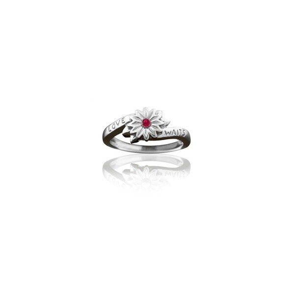 Girls Purity Ring Sterling Silver Love Waits Flower with Ruby