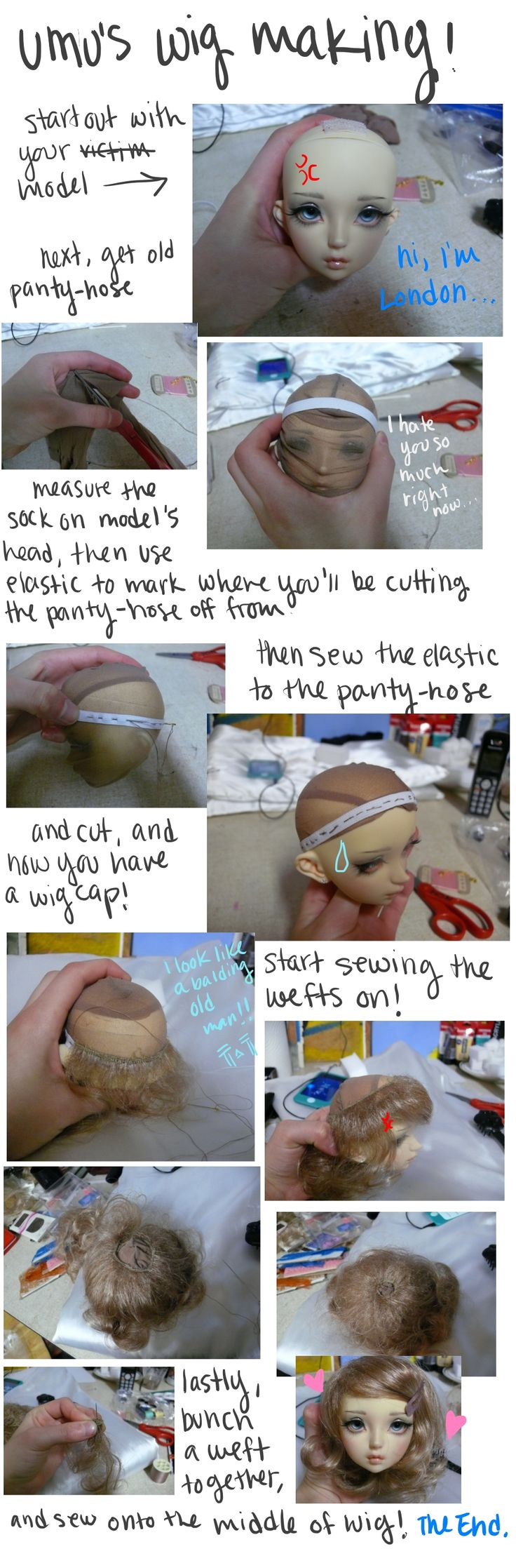 Wigs using pantyhose, elastic and sewn hair wefts the easiest wetted hair removable wig dor dolls /deities Have tried this although used tight edge of elastic stocking instead of elastic strip. Was really easy and gorgeous.  Of course for deity wigs you need a bun hole so that gives lots of gripping potential.