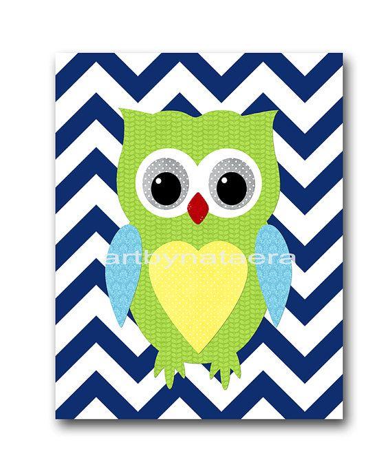 Owl Decor Owl Nursery Baby Boy Nursery Decor Baby nursery print children art print Nursery Print Kids Art Boy Print Boy Art 8x10 blue green