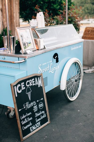 Ice cream cart! http://www.stylemepretty.com/2015/04/24/rustic-fall-wedding-holland-ranch/ | Photography: Jen Rodriguez - http://www.jen-rodriguez.com/