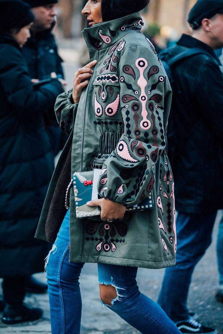 Embroidered anorak jacket street style