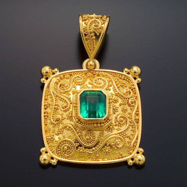 Zaffiro Jewelry Classic Collection — Tuscan Garden Series Pendant: Marilyn  Pendant is set with an Emerald in granulated 22kt yellow gold with 18kt yellow gold.