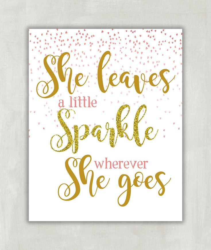 """She Leaves a Little Sparkle Wherever She Goes - Children's Wall Art Print, Nursery Wall Art - Pink and Gold Print - Falling glittery pink hearts 8x10 ((Unframed)). """"She Leaves A Little Sparkle Wherever She Goes"""" in BLUSH PINK & GOLD GLITTER. You will receive an 8x10 print. Prints are created digitally on professional premium satin-gloss luster 68 lb weight photo paper. Always display prints under glass for maximum print life. Print comes shipped securely in a flat, sturdy mailer. Frame…"""